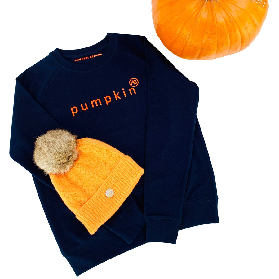 Children Nourish Sweatshirt - Navy pumpkin - Annabel Brocks