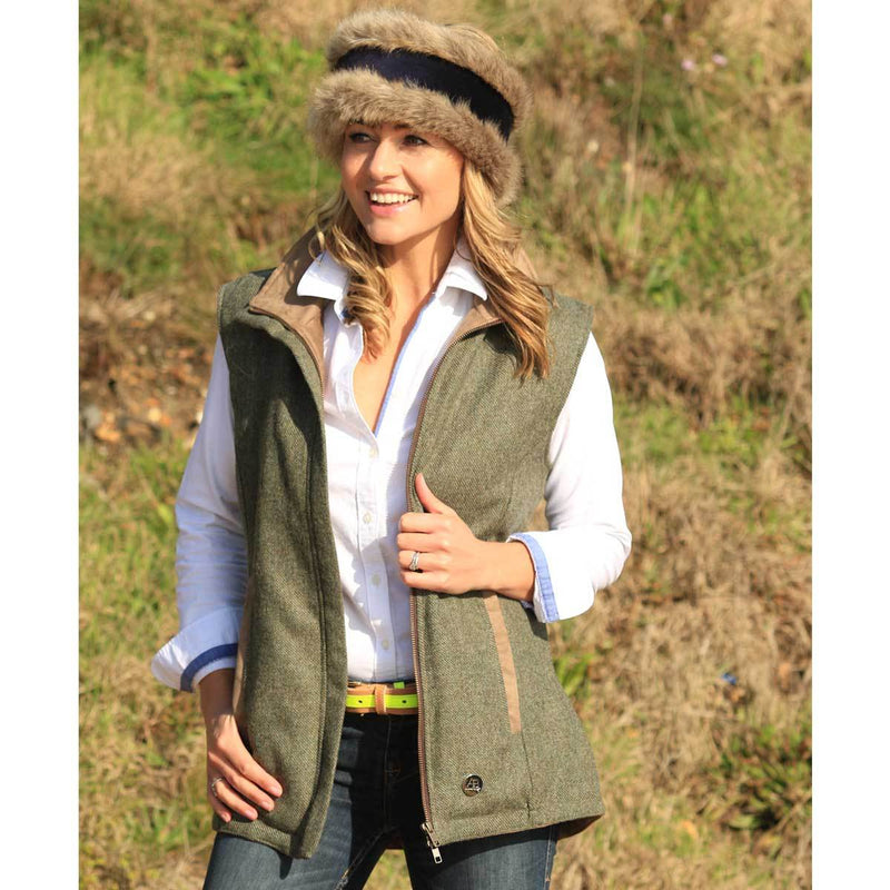 Dark green wool gilet with removable faux fur collar - Annabel Brocks