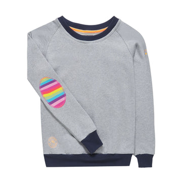 Light Grey with Navy Rib and Rainbow Patch - Annabel Brocks