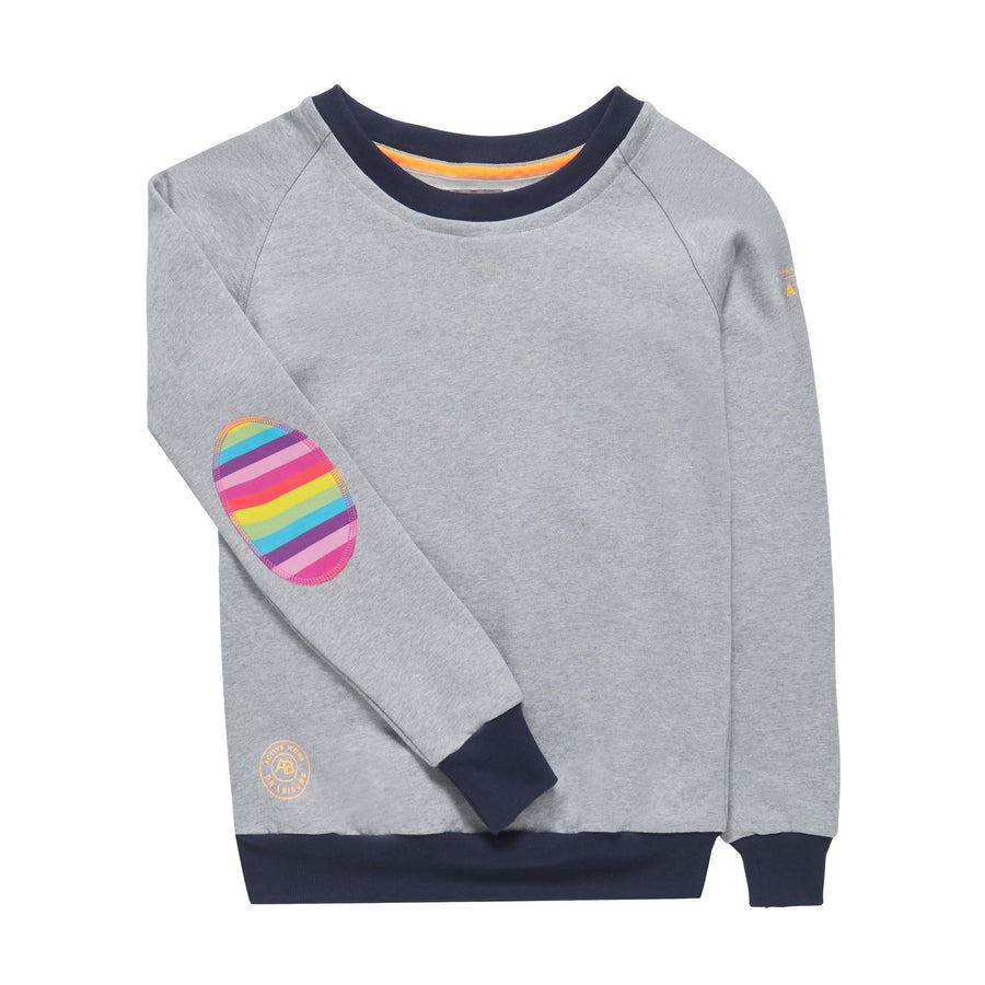AWOL - Light Grey with Navy Rib and Rainbow Patch - Annabel Brocks