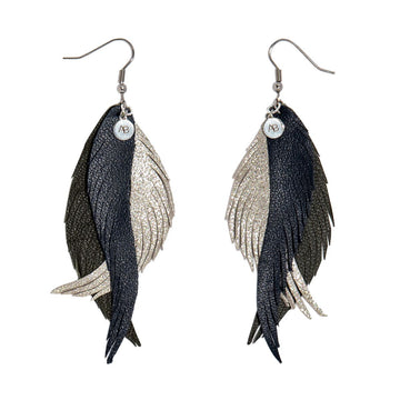 Leather Angel Wings earrings Navy olive and silver - Annabel Brocks