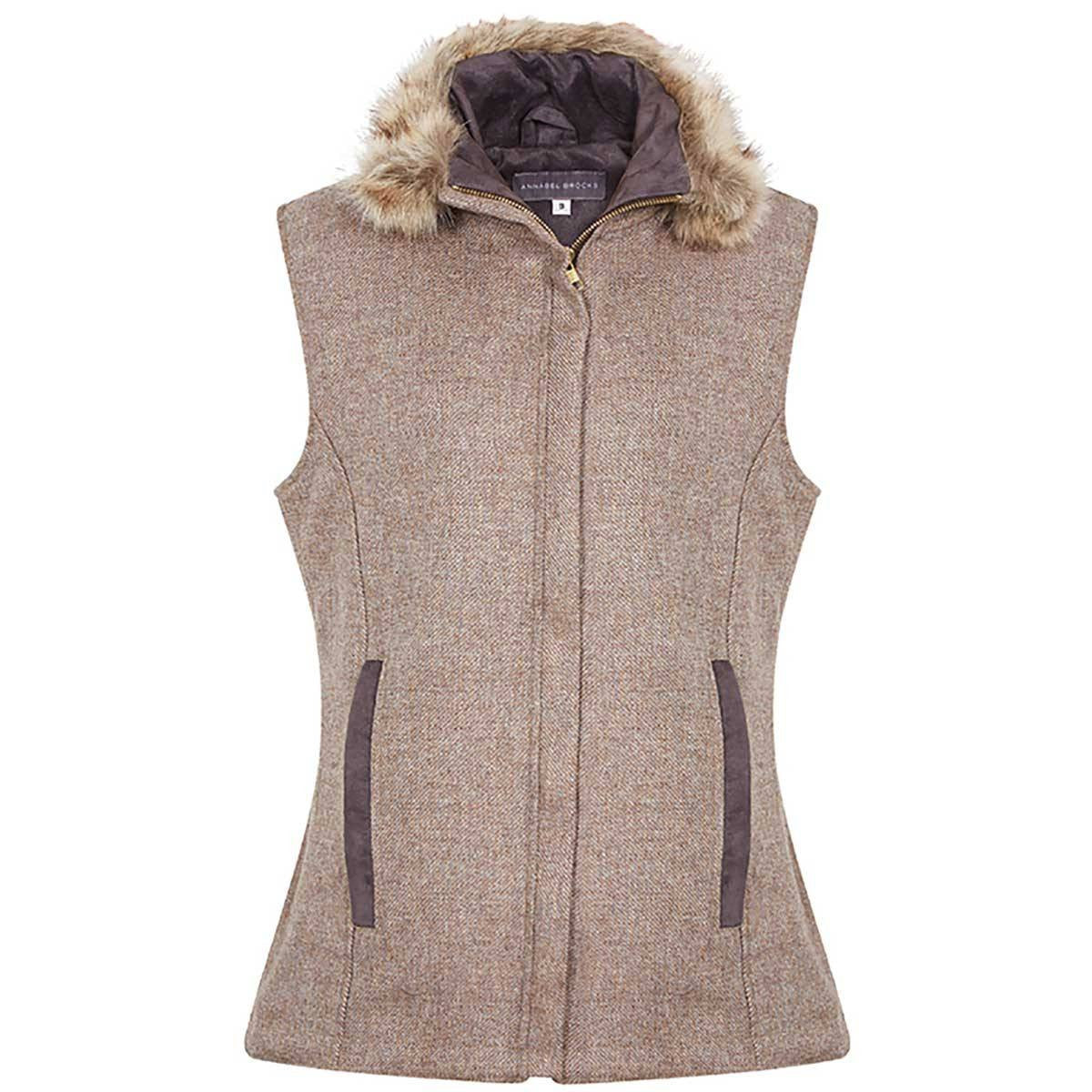 Natural Brown Wool Gilet with Faux Fur Collar