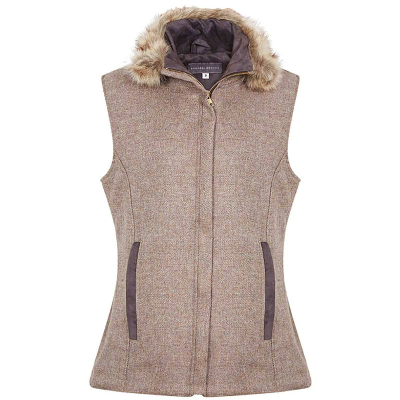 Natural Brown Wool Gilet with a fixed faux fur collar - Annabel Brocks