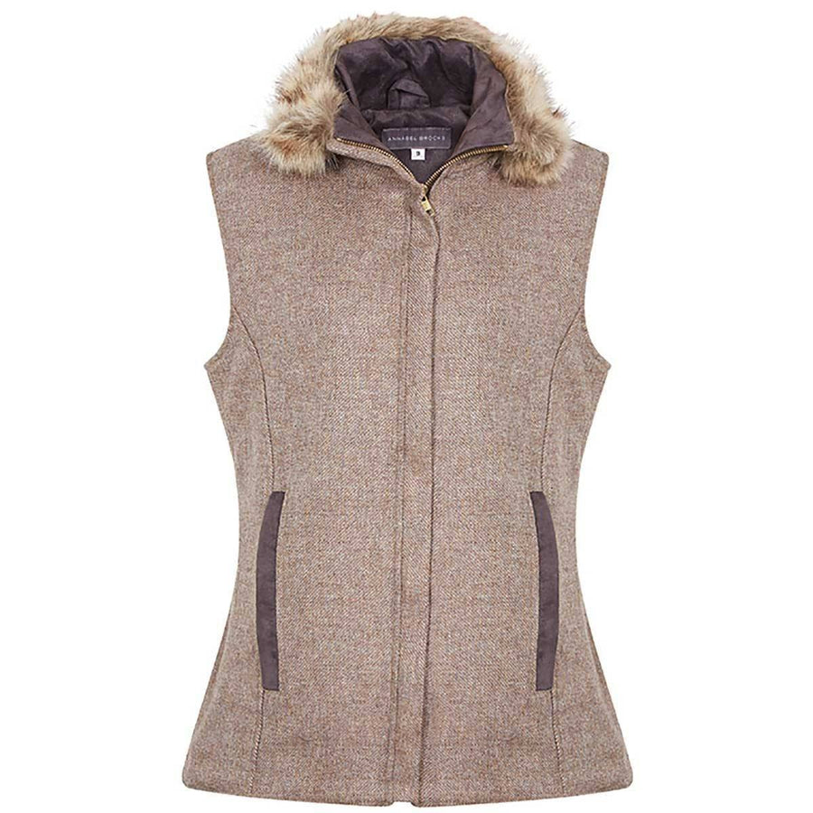 Natural Wool Gilet with removable Faux Fur Collar - Annabel Brocks