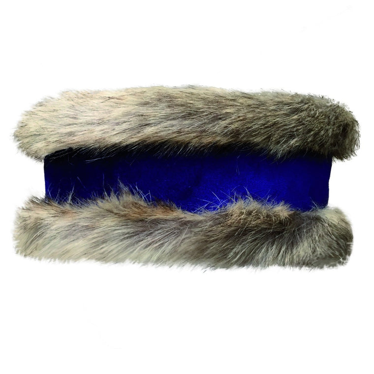 Natural Faux Fur & Cobalt Suede