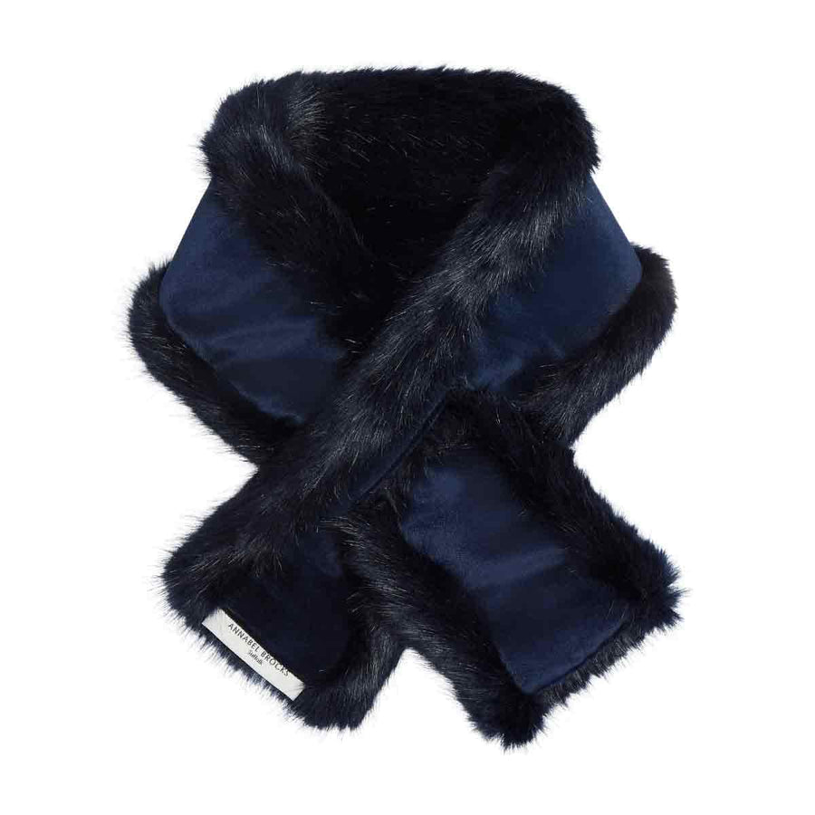 Navy and Navy Velvet reversible neck warmer - Annabel Brocks