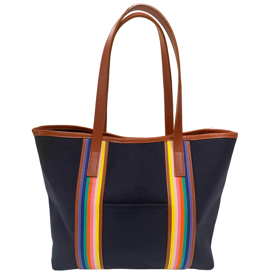 Southwold Rainbow navy canvas tote - Limited Edition - Annabel Brocks
