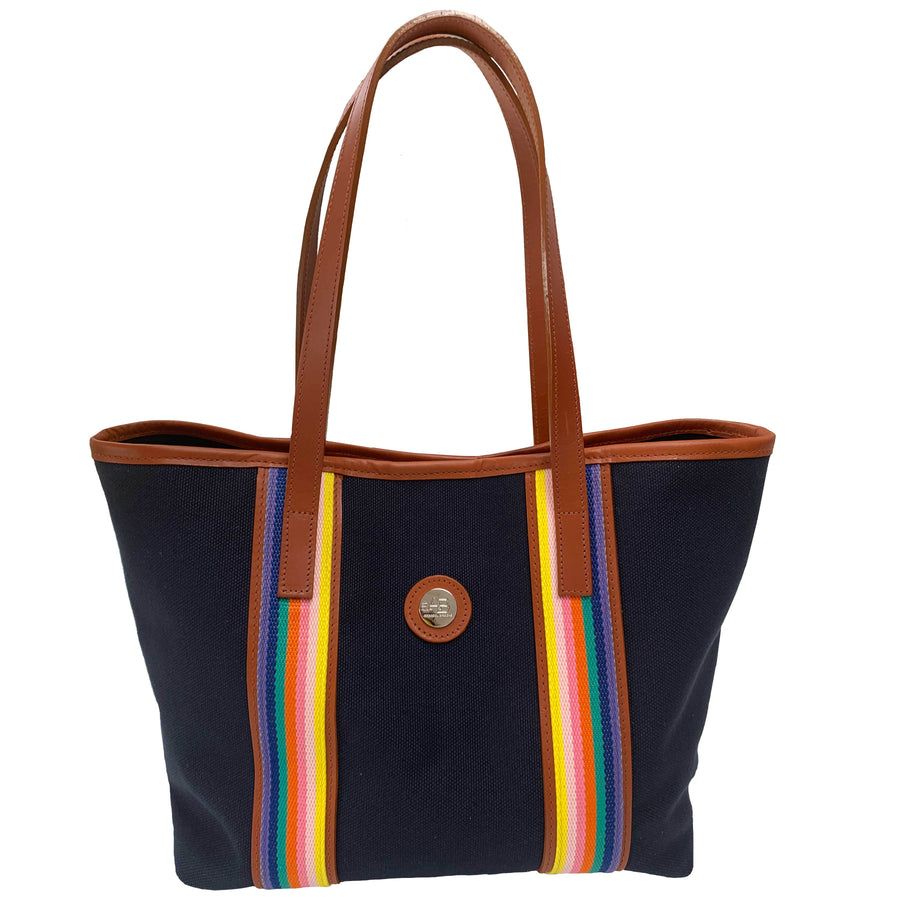 Southwold Rainbow navy canvas tote - Annabel Brocks