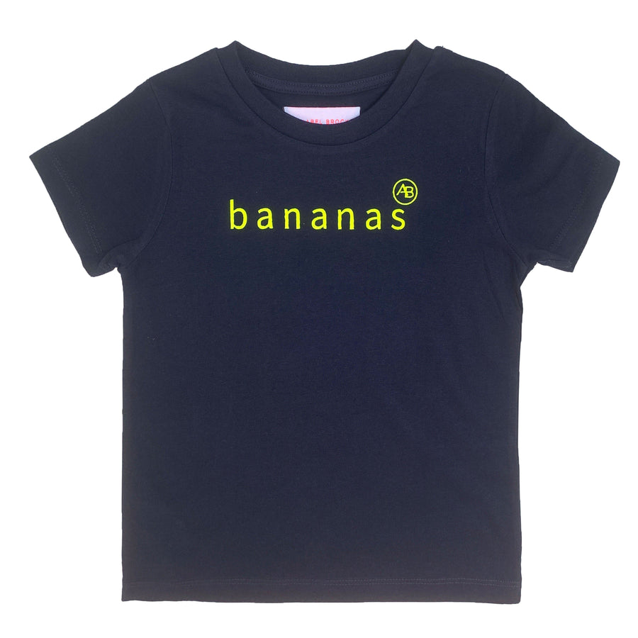 Nourish children's  t-shirt navy with Bananas - Annabel Brocks