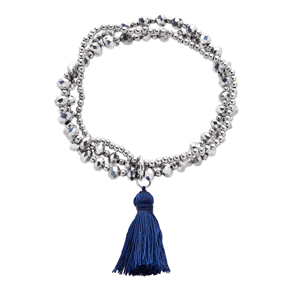 Navy Silk Tassel Bracelet - Annabel Brocks