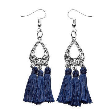 Navy  Silk Tassel Earrings - Annabel Brocks