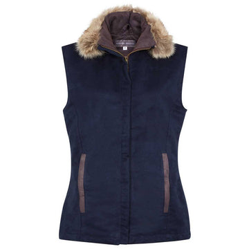 Navy Faux Suede Pelham Gilet (fixed faux fur collar) - Annabel Brocks