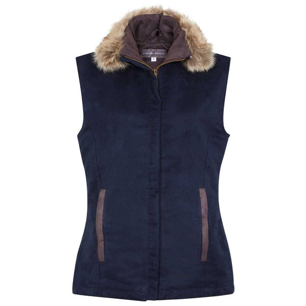 Navy Faux Suede Pelham Gilet with fixed faux fur collar - Annabel Brocks