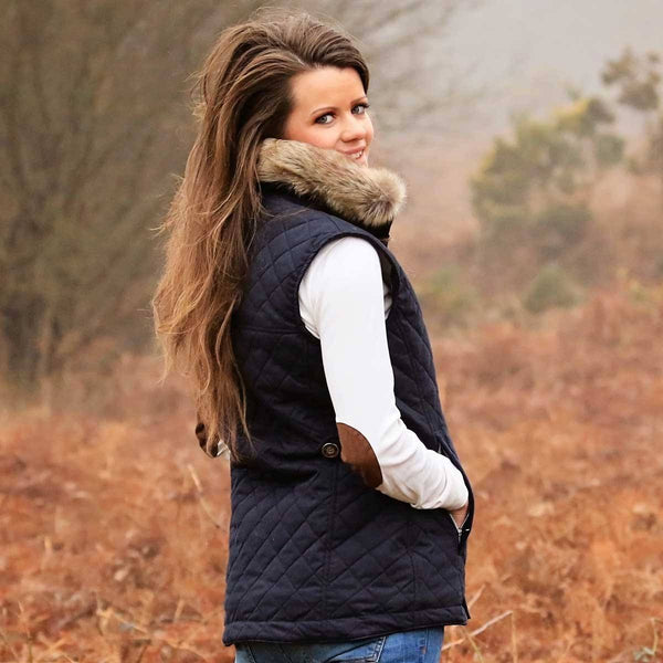 Navy Quilted Gilet with Faux Fur Collar - Annabel Brocks
