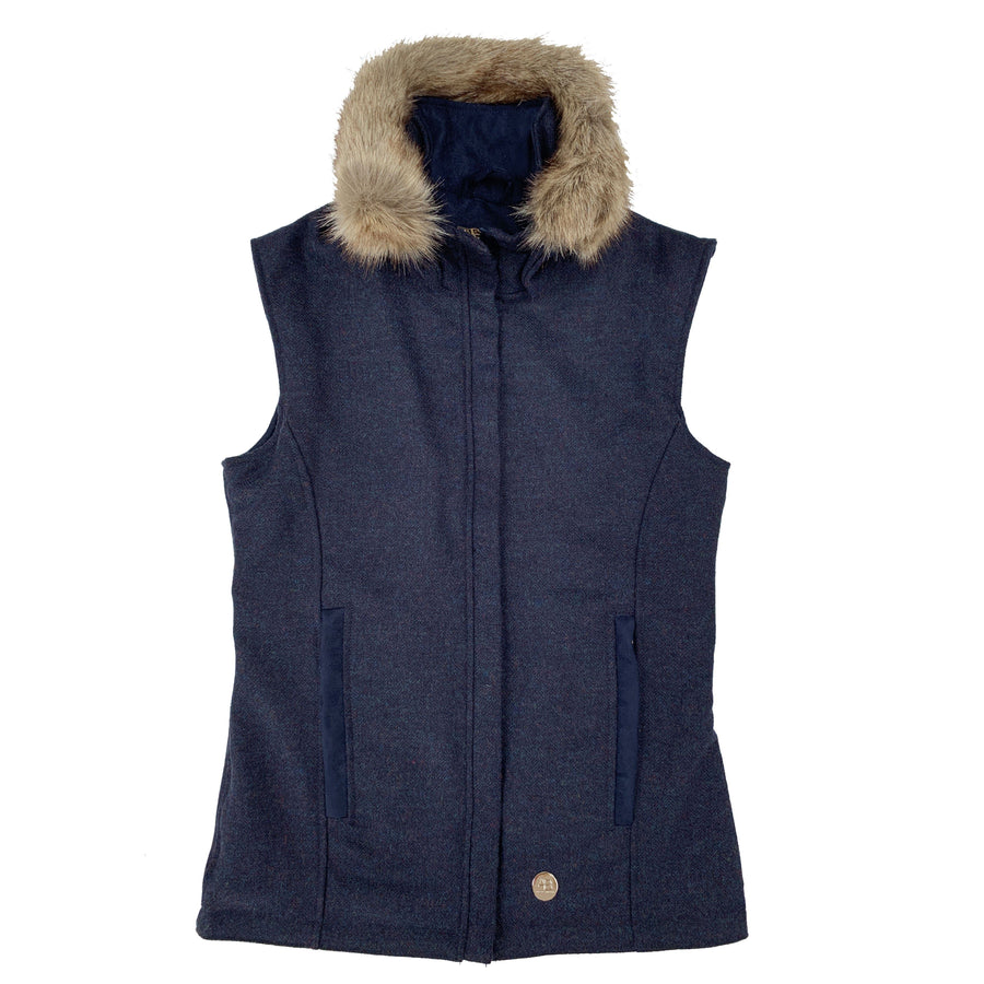 Navy Wool Gilet with removable Faux Fur Collar