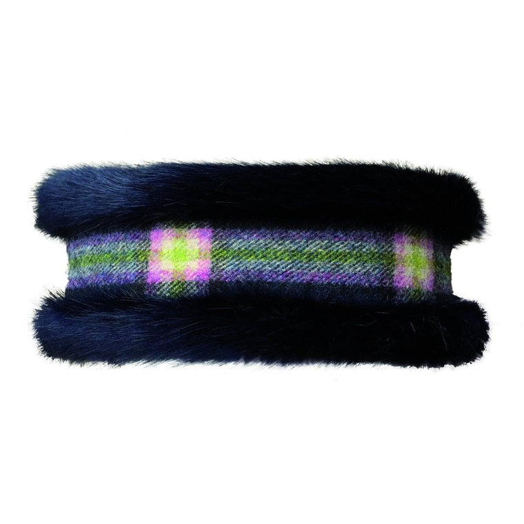Luxury Navy Blue Faux Fur and Navy Check Tweed