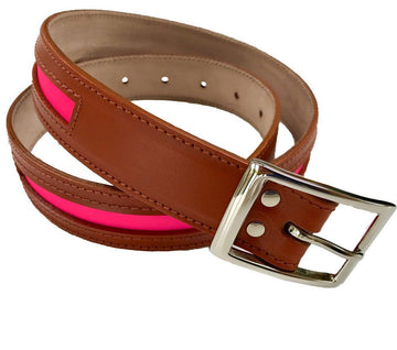 Tan leather and neon pink contrast belt - Annabel Brocks