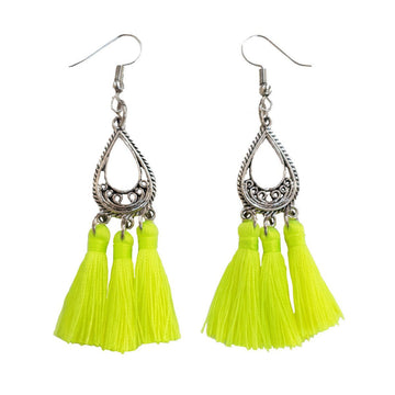 Neon yellow Silk Tassel Earrings - Annabel Brocks