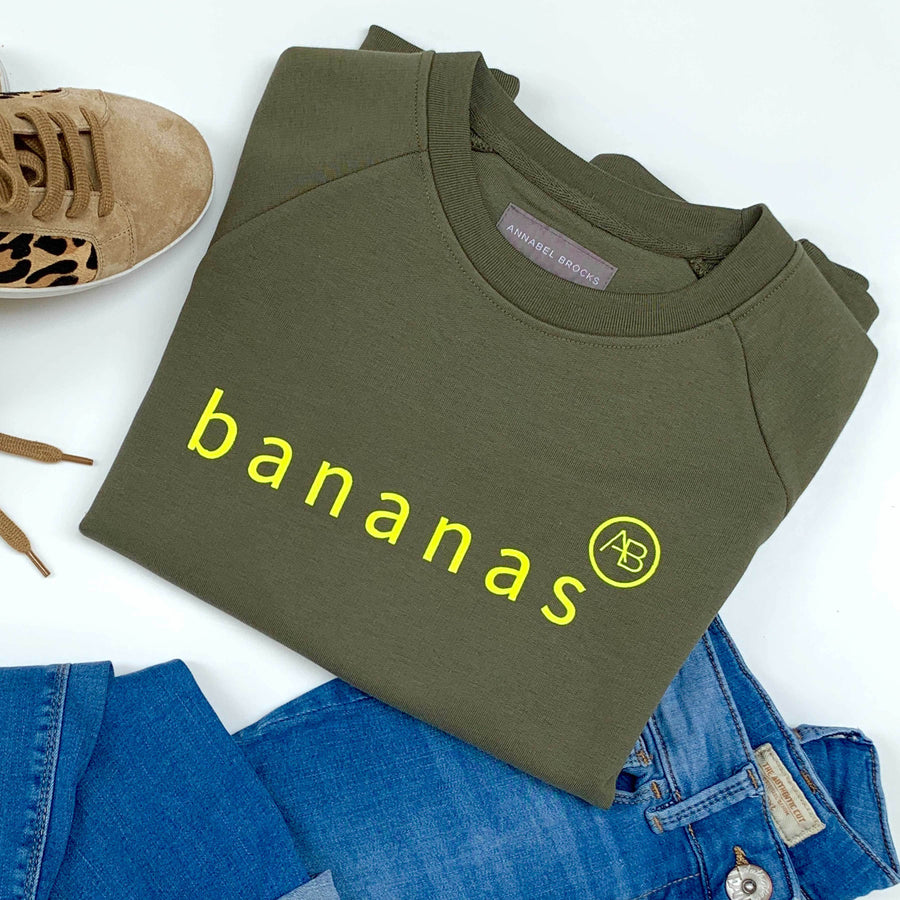 Children's Nourish Sweatshirt - Olive  Bananas - Annabel Brocks