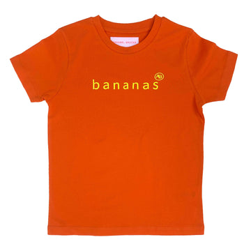 Nourish children's  t-shirt Orange with Bananas - Annabel Brocks
