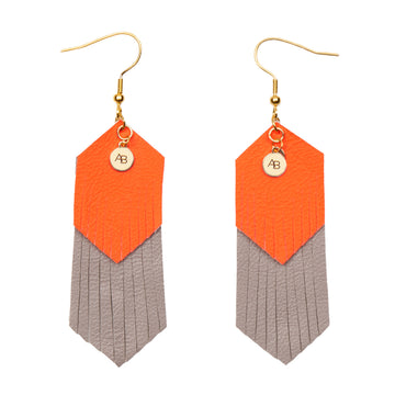 Free Spirit leather earrings orange and grey - Annabel Brocks