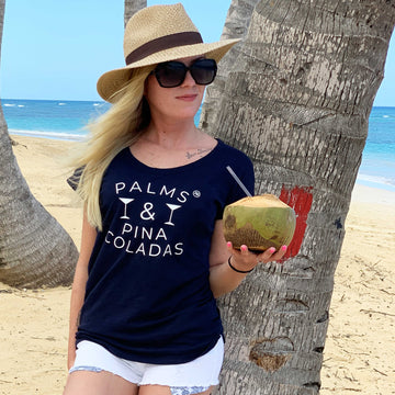 Palms and Pinas - navy - Annabel Brocks