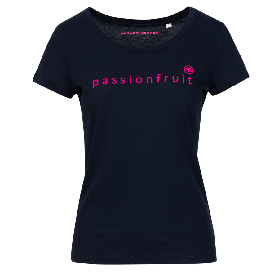 Nourish t-shirt - Navy with pink passionfruit - Annabel Brocks