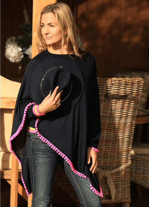 Navy Summer Poncho with Pink Pom Pom - Annabel Brocks