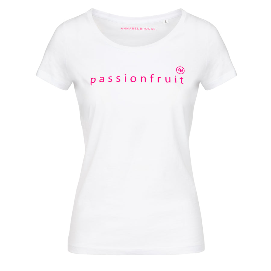 Nourish t-shirt -White with pink passionfruit - Annabel Brocks
