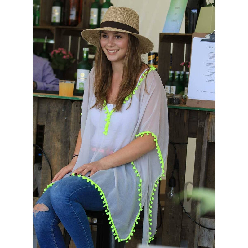 Pom Pom Kaftan - Grey with neon yellow pom pom - Annabel Brocks