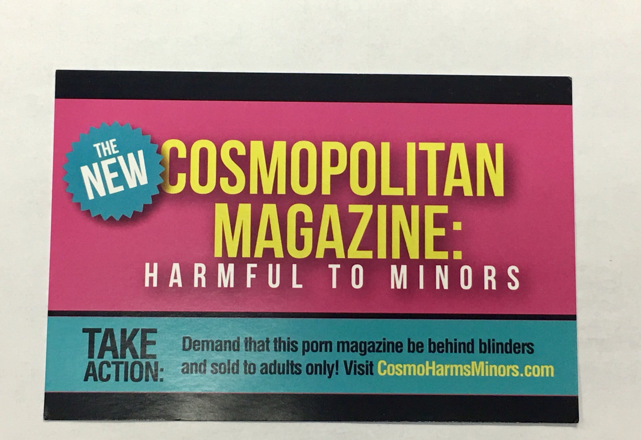 "Cosmopolitan Magazine ""Harmful to Minors"" Action Card"
