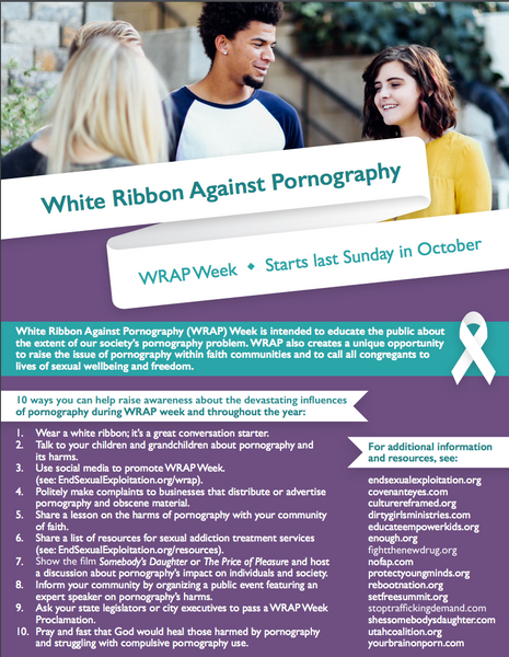 White Ribbon Against Pornography Week (WRAP Week) Flyer with Free Download
