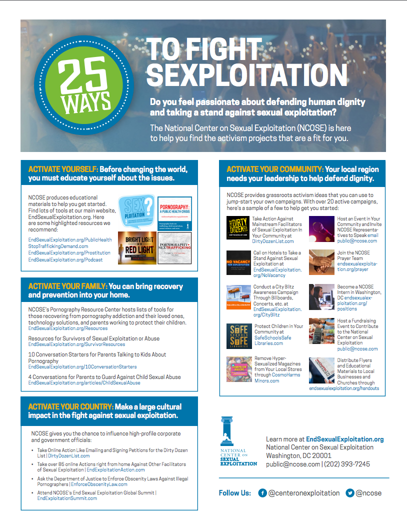 25 Ways to Fight Sexploitation Flyer with Free Download