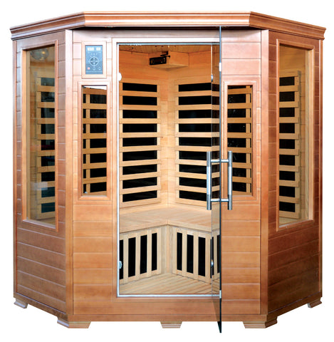 Buy Luxe Saunas SA3212 3 Person Corner Carbon Infrared Sauna Online - Fast free shipping plus $35 discount code for limited time. In-stock, order today