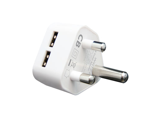 Whizzy Dual  USB 3pin 2.1Amp South African Wall Charger UC2A2