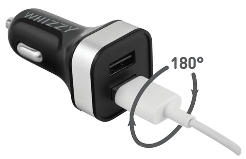 Whizzy 4.8Amp reversible Dual Car charger USBC2R