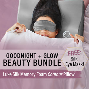 Beauty Bundle! Luxe Silk Memory Foam Contour Pillow + FREE Silk Eye Mask