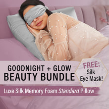 Beauty Bundle! Luxe Silk Memory Foam Standard Pillow + FREE Silk Eye Mask