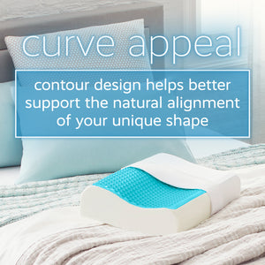 Contour Blue Bubble Gel Memory Foam Pillow