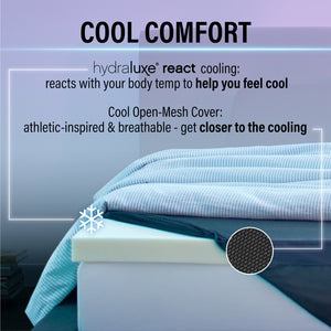 "Hydraluxe+™ React 3"" Cooling Memory Foam Mattress Topper"