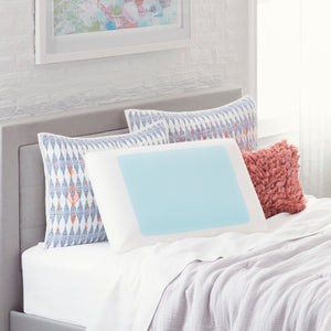 Queen Blue Bubble Gel Memory Foam Pillow