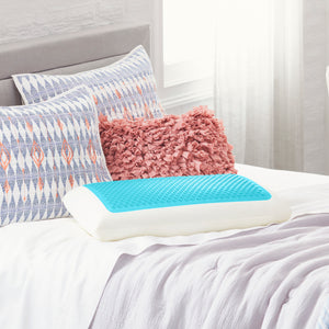 Standard Blue Bubble Gel Memory Foam Pillow