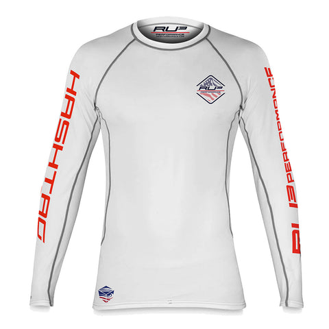 RU3 Patriot White RASH GUARD - Hashtag Board Co.