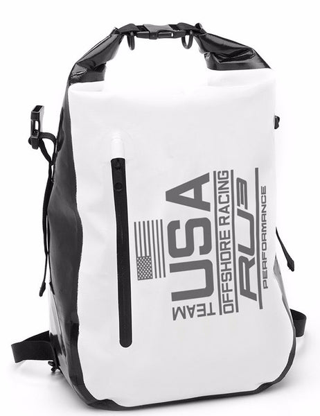 RU3 Racing Team yacht sport dry bag white n black and Reflective - Hashtag Board Co.