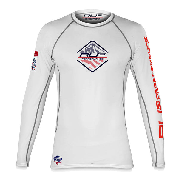 RU3 WHITE TEAM USA PERFORMANCE RASH GUARD - Hashtag Board Co.