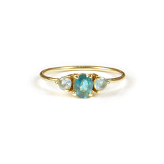 Blue and Blue Turmalina stone en Oro 18k