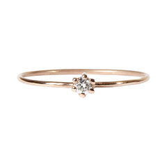 Anillo Solitario con Diamante en Oro Rosa 18 K | Minimal Small Branch