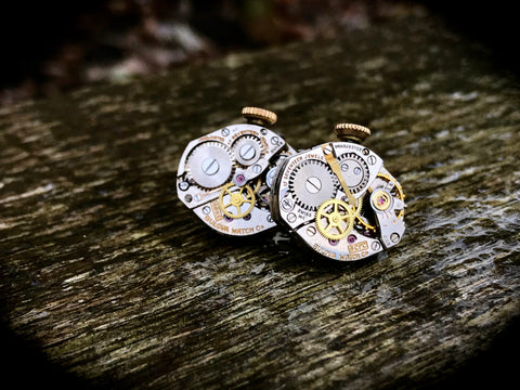 Vintage Bulova Watch Movement Cufflinks