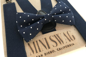 Navy Suspenders & Navy Dot Bow Tie Set