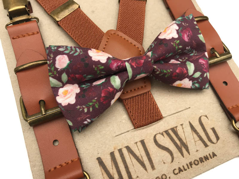 Wine Floral Bow Tie & Camel Leather Suspenders Set